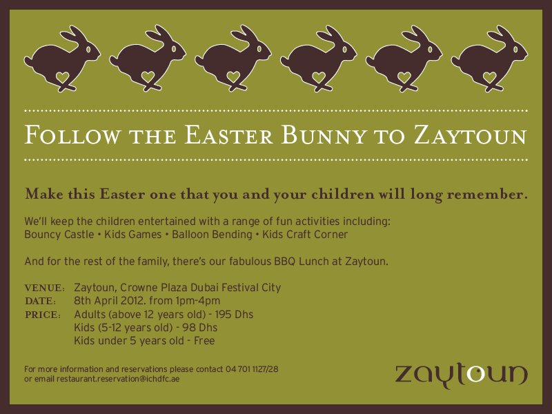 Follow the Easter Bunny to Zaytoun in Dubai