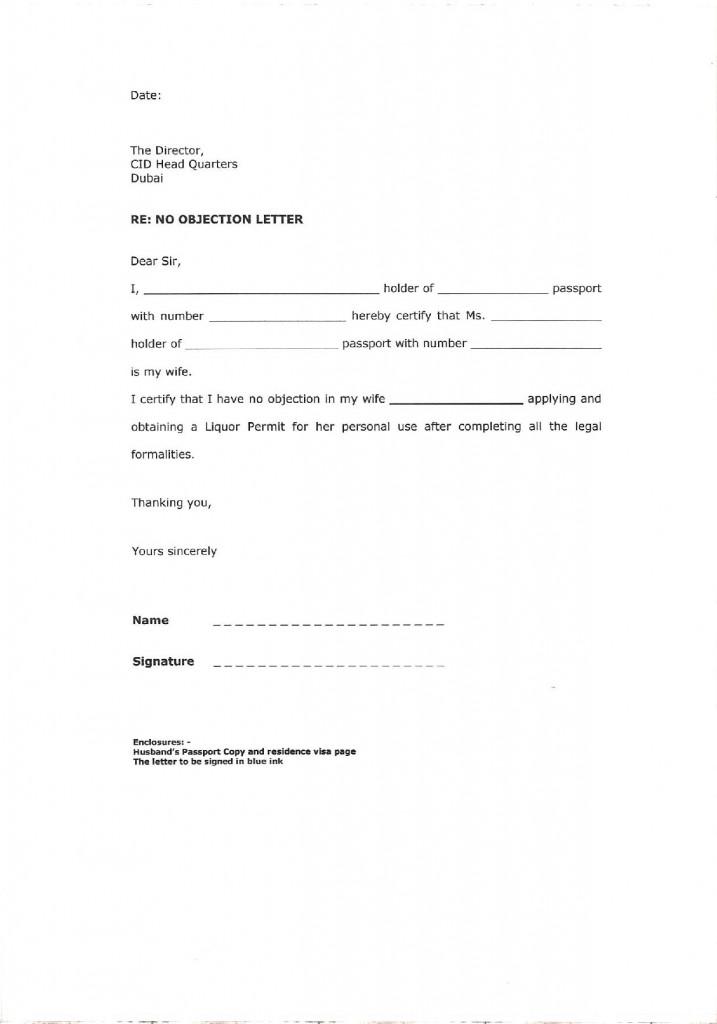No Objection Letter for Spouse s Liquor License-page-001