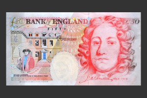 Sir John Houblon pictured on the April 1994 £50 note