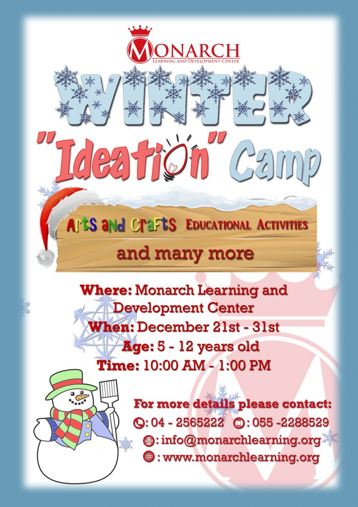 winter 'ideation' camp ad